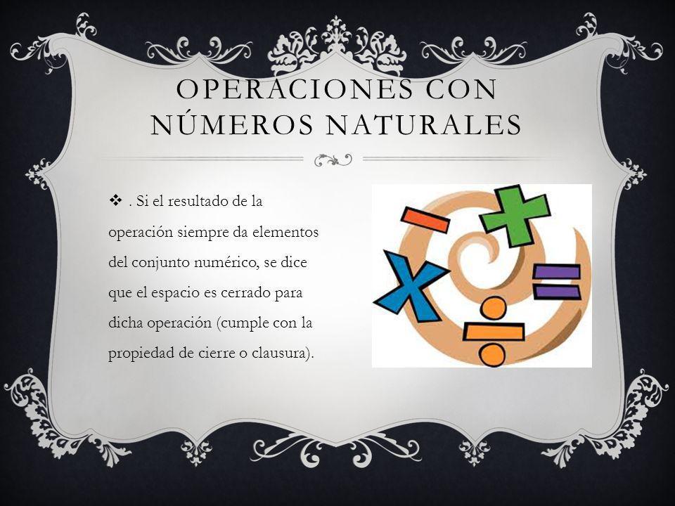 Si el resultado de la operación siempre da elementos del conjunto numérico, se dice que el espacio es cerrado para dicha operación (cumple con la propiedad de cierre o clausura).