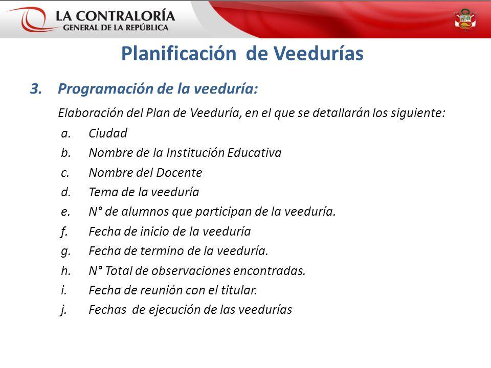 3.Programación de la veeduría: Elaboración del Plan de Veeduría, en el que se detallarán los siguiente: a.Ciudad b.Nombre de la Institución Educativa