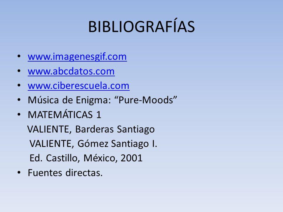 BIBLIOGRAFÍAS www.imagenesgif.com www.abcdatos.com www.ciberescuela.com Música de Enigma: Pure-Moods MATEMÁTICAS 1 VALIENTE, Barderas Santiago VALIENT