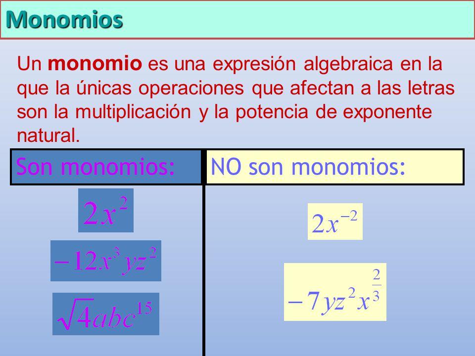 Monomios Un monomio es una expresión algebraica en la que la únicas operaciones que afectan a las letras son la multiplicación y la potencia de expone