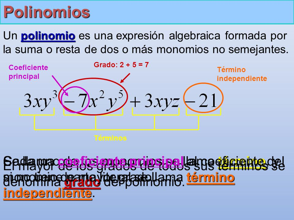 Polinomios polinomio Un polinomio es una expresión algebraica formada por la suma o resta de dos o más monomios no semejantes.