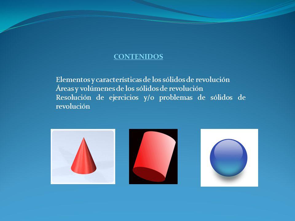 CONTENIDOS Elementos y características de los sólidos de revolución Áreas y volúmenes de los sólidos de revolución Resolución de ejercicios y/o proble