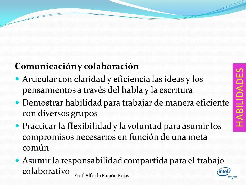 Comunicación y colaboración Articular con claridad y eficiencia las ideas y los pensamientos a través del habla y la escritura Demostrar habilidad para trabajar de manera eficiente con diversos grupos Practicar la flexibilidad y la voluntad para asumir los compromisos necesarios en función de una meta común Asumir la responsabilidad compartida para el trabajo colaborativo 9 HABILIDADES Prof.