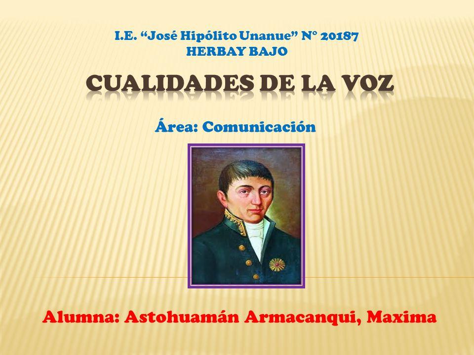 Alumna: Astohuamán Armacanqui, Maxima Área: Comunicación I.E. José Hipólito Unanue N° 20187 HERBAY BAJO