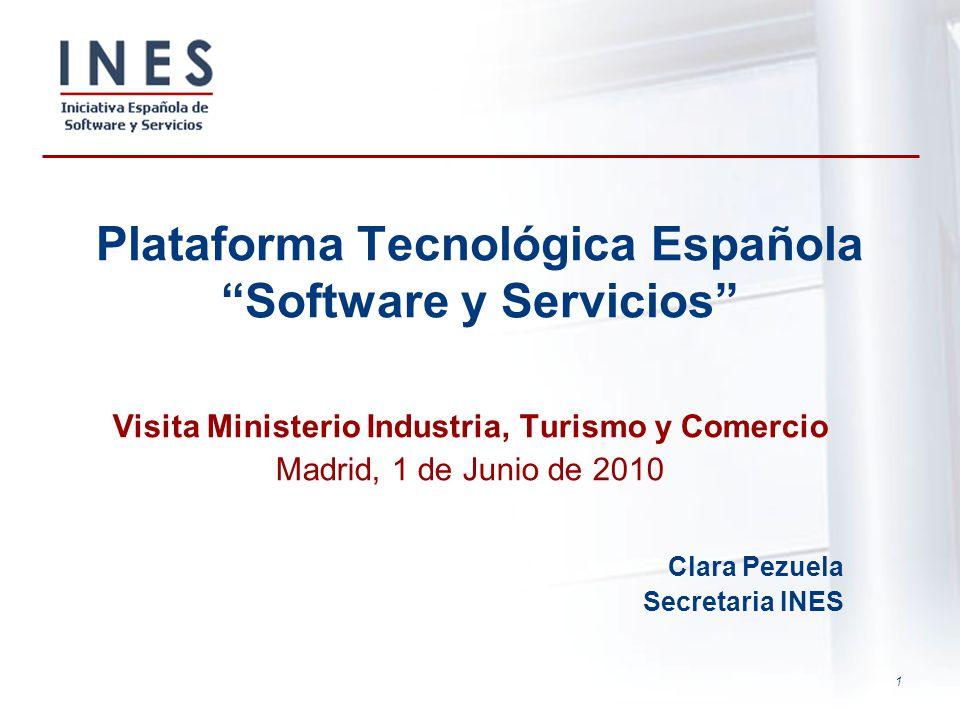1 Plataforma Tecnológica Española Software y Servicios Visita Ministerio Industria, Turismo y Comercio Madrid, 1 de Junio de 2010 Clara Pezuela Secret