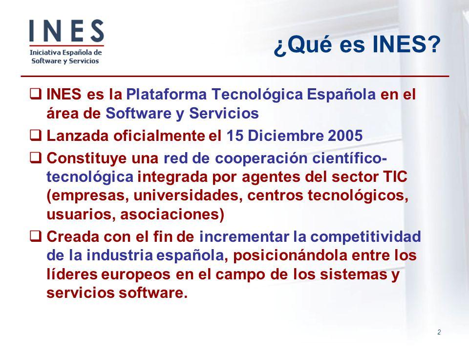 2 ¿Qué es INES? INES es la Plataforma Tecnológica Española en el área de Software y Servicios Lanzada oficialmente el 15 Diciembre 2005 Constituye una
