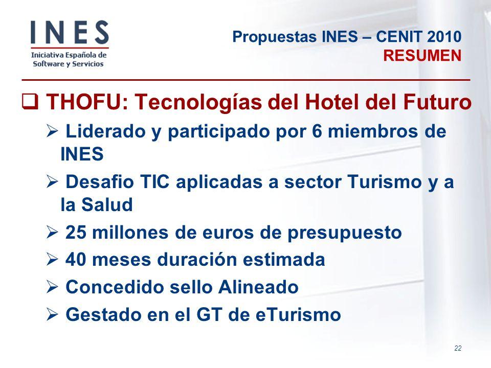 22 Propuestas INES – CENIT 2010 RESUMEN THOFU: Tecnologías del Hotel del Futuro Liderado y participado por 6 miembros de INES Desafio TIC aplicadas a