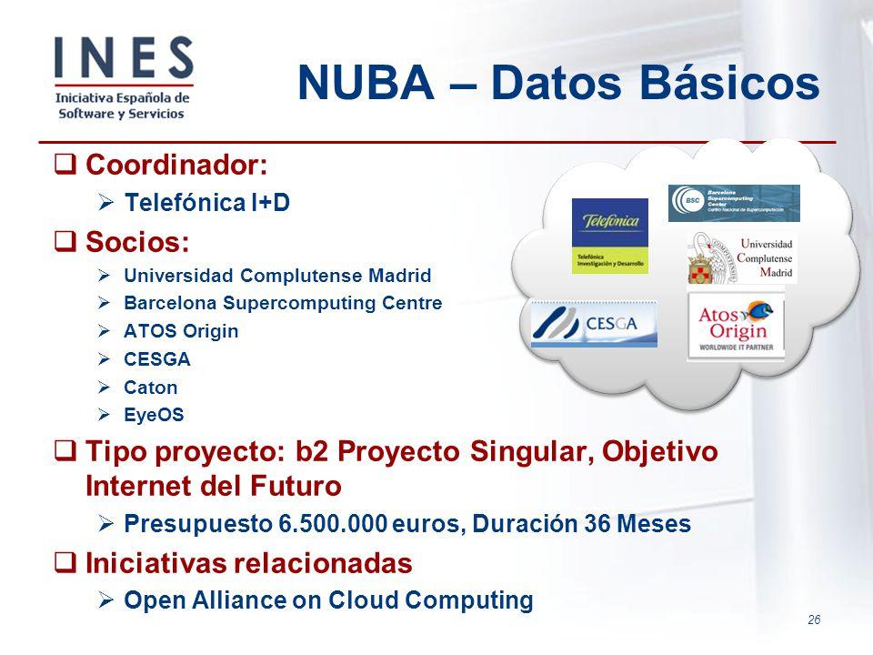 26 NUBA – Datos Básicos Coordinador: Telefónica I+D Socios: Universidad Complutense Madrid Barcelona Supercomputing Centre ATOS Origin CESGA Caton Eye