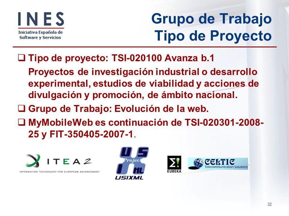 32 Grupo de Trabajo Tipo de Proyecto Tipo de proyecto: TSI-020100 Avanza b.1 Proyectos de investigación industrial o desarrollo experimental, estudios