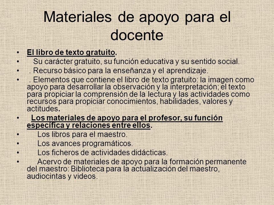 Materiales de apoyo para el docente El libro de texto gratuito.