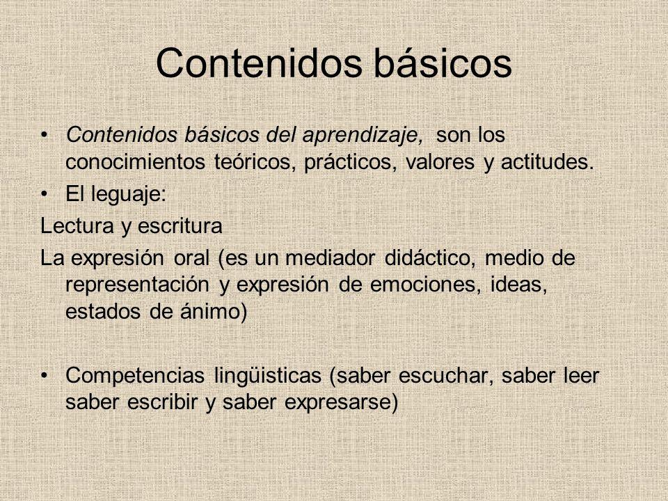 Contenidos básicos Contenidos básicos del aprendizaje, son los conocimientos teóricos, prácticos, valores y actitudes. El leguaje: Lectura y escritura