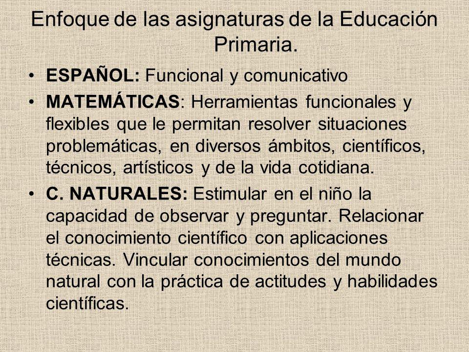 Enfoque de las asignaturas de la Educación Primaria. ESPAÑOL: Funcional y comunicativo MATEMÁTICAS: Herramientas funcionales y flexibles que le permit