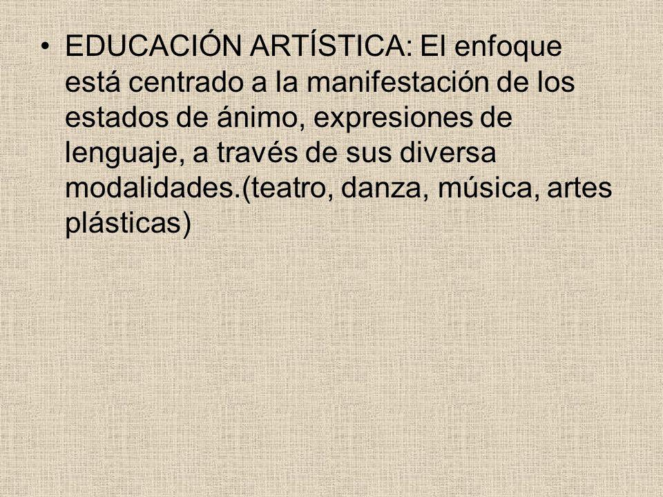 EDUCACIÓN ARTÍSTICA: El enfoque está centrado a la manifestación de los estados de ánimo, expresiones de lenguaje, a través de sus diversa modalidades