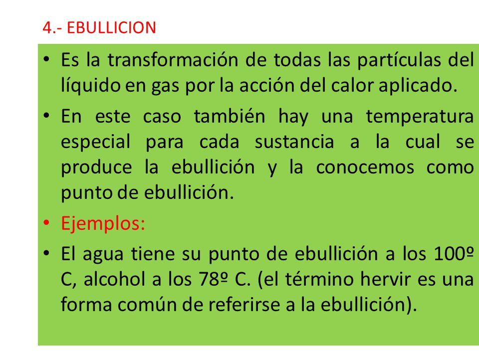 4.- EBULLICION Es la transformación de todas las partículas del líquido en gas por la acción del calor aplicado.