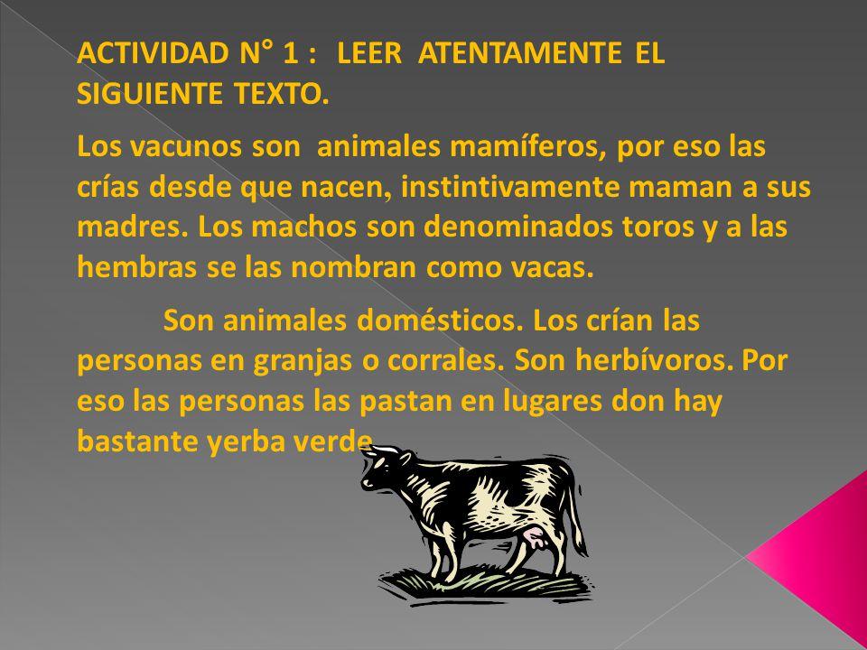 ACTIVIDAD N° 1 : LEER ATENTAMENTE EL SIGUIENTE TEXTO. Los vacunos son animales mamíferos, por eso las crías desde que nacen, instintivamente maman a s