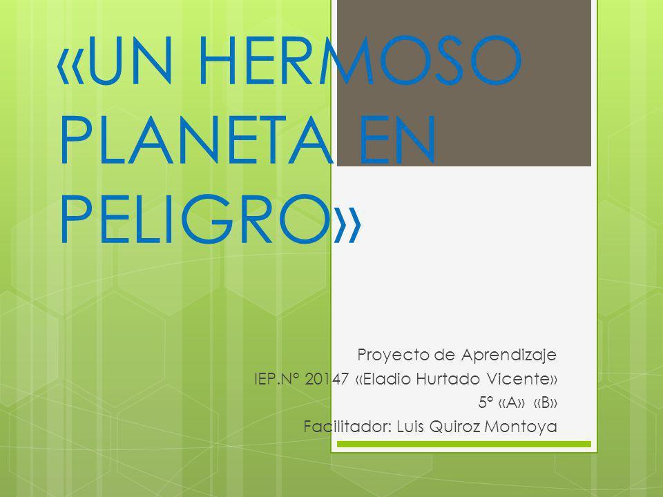 «UN HERMOSO PLANETA EN PELIGRO» Proyecto de Aprendizaje IEP.N° 20147 «Eladio Hurtado Vicente» 5° «A» «B» Facilitador: Luis Quiroz Montoya