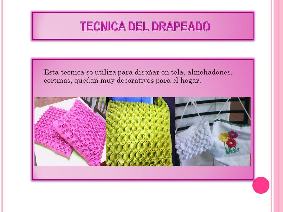Esta tecnica se utiliza para diseñar en tela, almohadones, cortinas, quedan muy decorativos para el hogar.