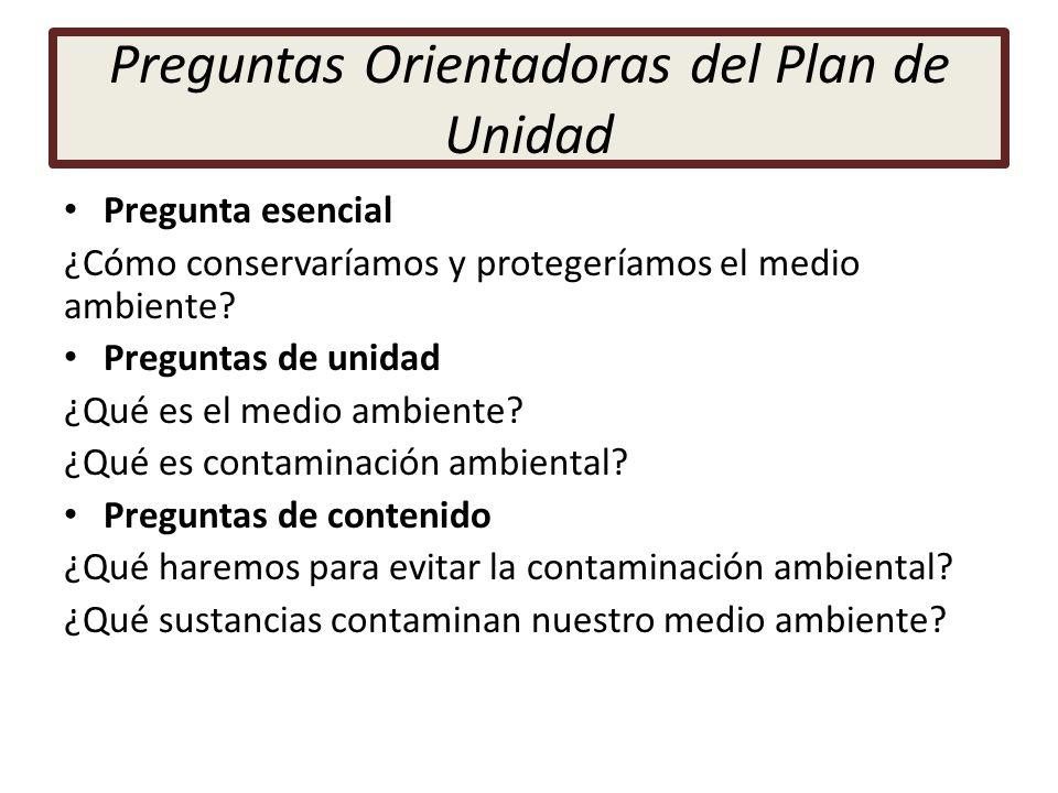 Preguntas Orientadoras del Plan de Unidad Pregunta esencial ¿Cómo conservaríamos y protegeríamos el medio ambiente? Preguntas de unidad ¿Qué es el med