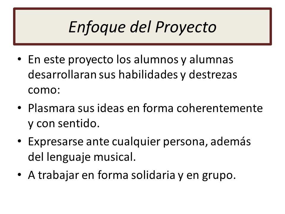 Enfoque del Proyecto En este proyecto los alumnos y alumnas desarrollaran sus habilidades y destrezas como: Plasmara sus ideas en forma coherentemente