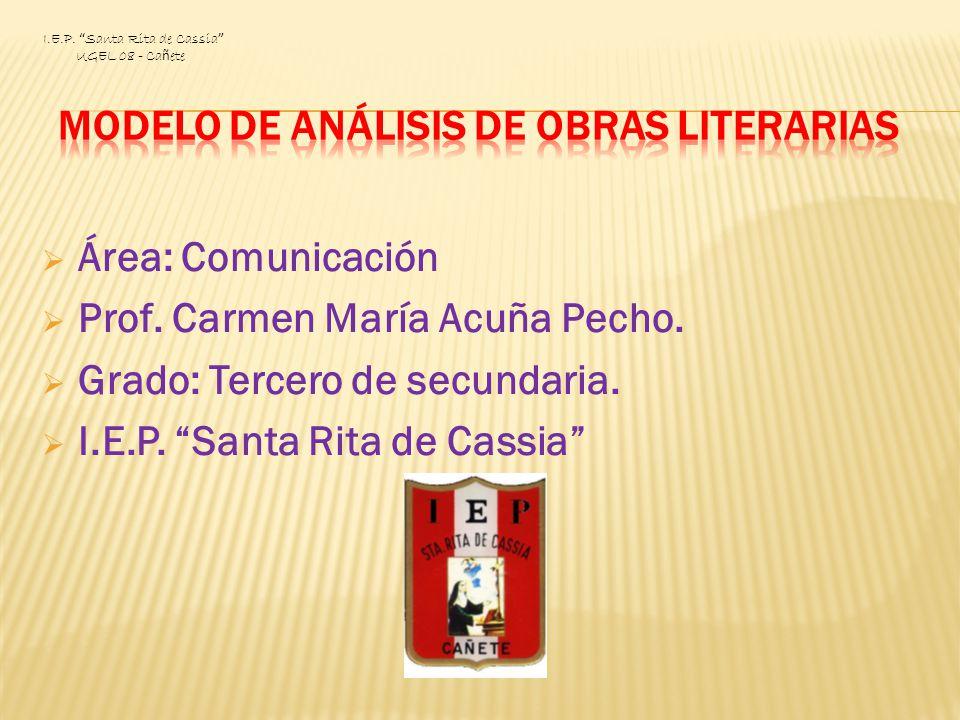 Área: Comunicación Prof. Carmen María Acuña Pecho. Grado: Tercero de secundaria. I.E.P. Santa Rita de Cassia I.E.P. Santa Rita de Cassia UGEL 08 - Ca