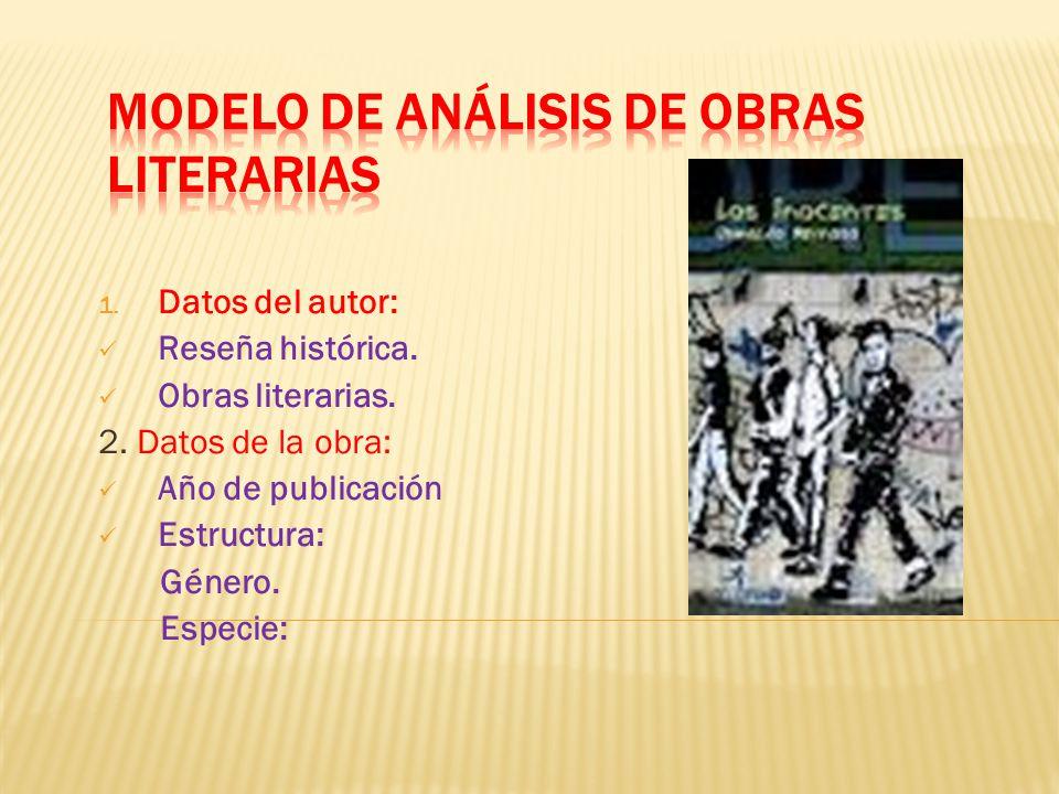 1. Datos del autor: Reseña histórica. Obras literarias. 2. Datos de la obra: Año de publicación Estructura: Género. Especie: