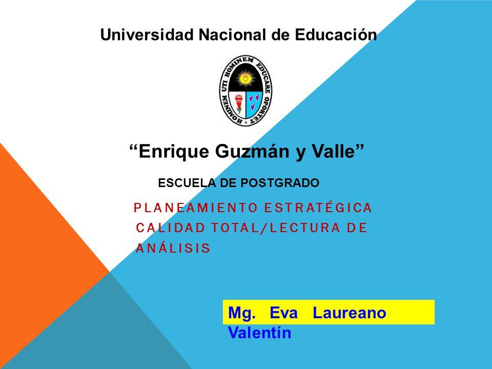 PLANEAMIENTO ESTRATÉGICA CALIDAD TOTAL/LECTURA DE ANÁLISIS Universidad Nacional de Educación ESCUELA DE POSTGRADO Enrique Guzmán y Valle Mg. Eva Laure