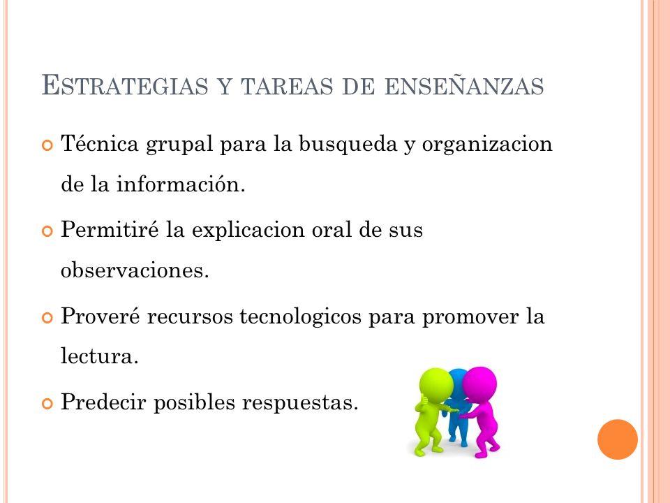 E STRATEGIAS Y TAREAS DE ENSEÑANZAS Técnica grupal para la busqueda y organizacion de la información. Permitiré la explicacion oral de sus observacion