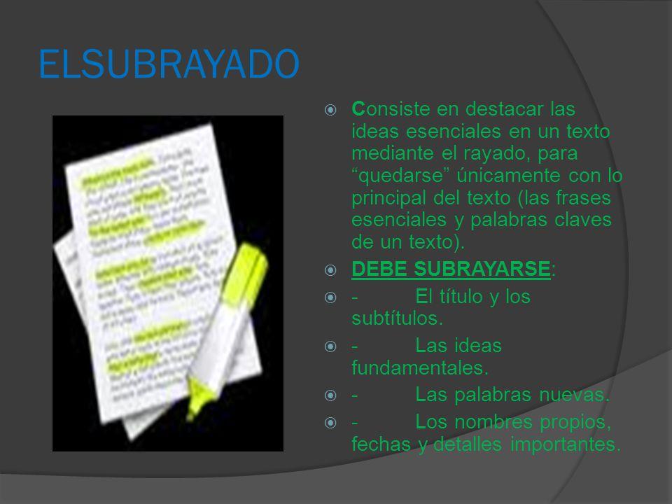 ELSUBRAYADO Consiste en destacar las ideas esenciales en un texto mediante el rayado, para quedarse únicamente con lo principal del texto (las frases