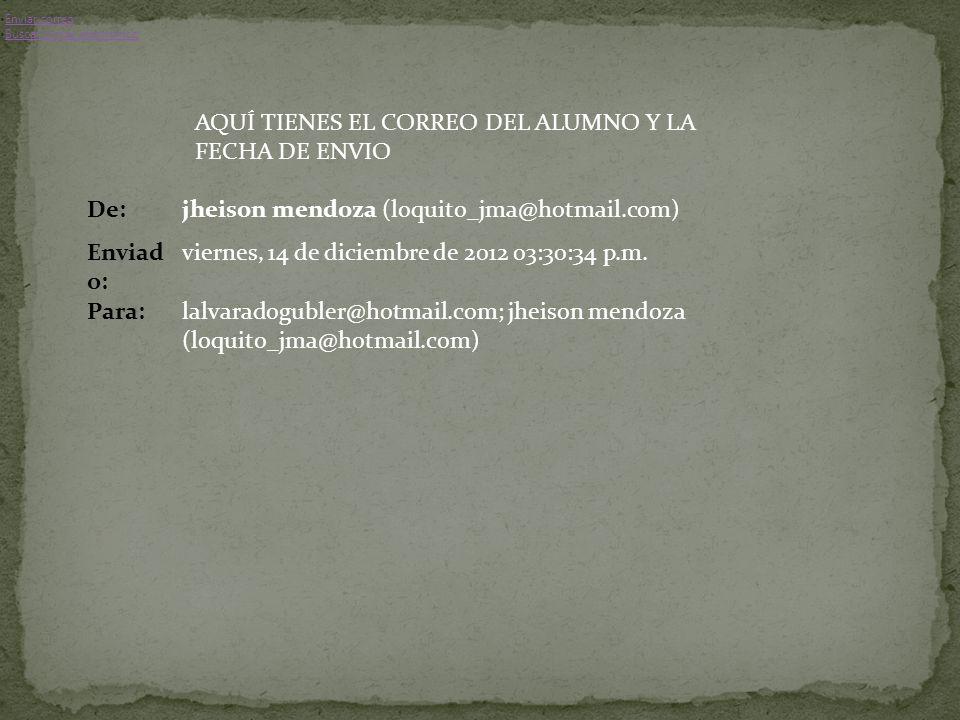 De:jheison mendoza (loquito_jma@hotmail.com) Enviad o: viernes, 14 de diciembre de 2012 03:30:34 p.m.