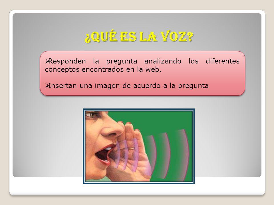 ¿Qué es la voz? Responden la pregunta analizando los diferentes conceptos encontrados en la web. Insertan una imagen de acuerdo a la pregunta Responde