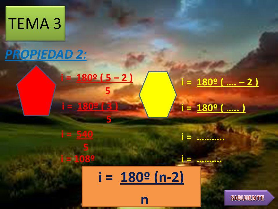 SUMA DE ÁNGULOS INTERNOS TEMA 2 PROPIEDAD 1: PROPIEDADES DE LOS POLÍGONOS S = 180º (n-2) S = 180º ( 5 – 2 ) S = 180º ( 3 ) S = 540º S = 180º ( …. – 2