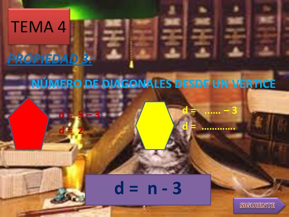 TEMA 3 PROPIEDAD 2: i = 180º ( 5 – 2 ) 5 i = 180º ( 3 ) 5 i = 540 5 i = 108º i = 180º ( …. – 2 ) i = ……….. i = ………. i = 180º ( ….. ) i = 180º (n-2) n