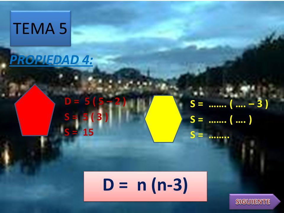 TEMA 4 PROPIEDAD 3: d = 5 – 3 d = 2 d =..…. – 3 d = …………. NÚMERO DE DIAGONALES DESDE UN VÉRTICE d = n - 3