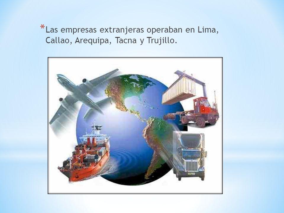 * Las empresas extranjeras operaban en Lima, Callao, Arequipa, Tacna y Trujillo.