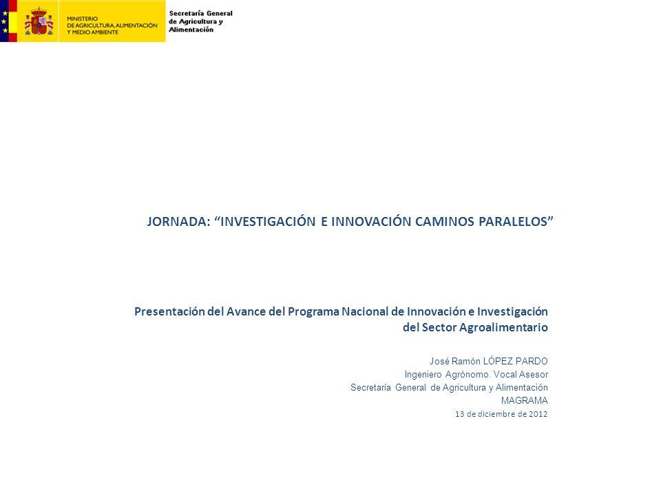 Presentación del Avance del Programa Nacional de Innovación e Investigación del Sector Agroalimentario José Ramón LÓPEZ PARDO Ingeniero Agrónomo. Voca