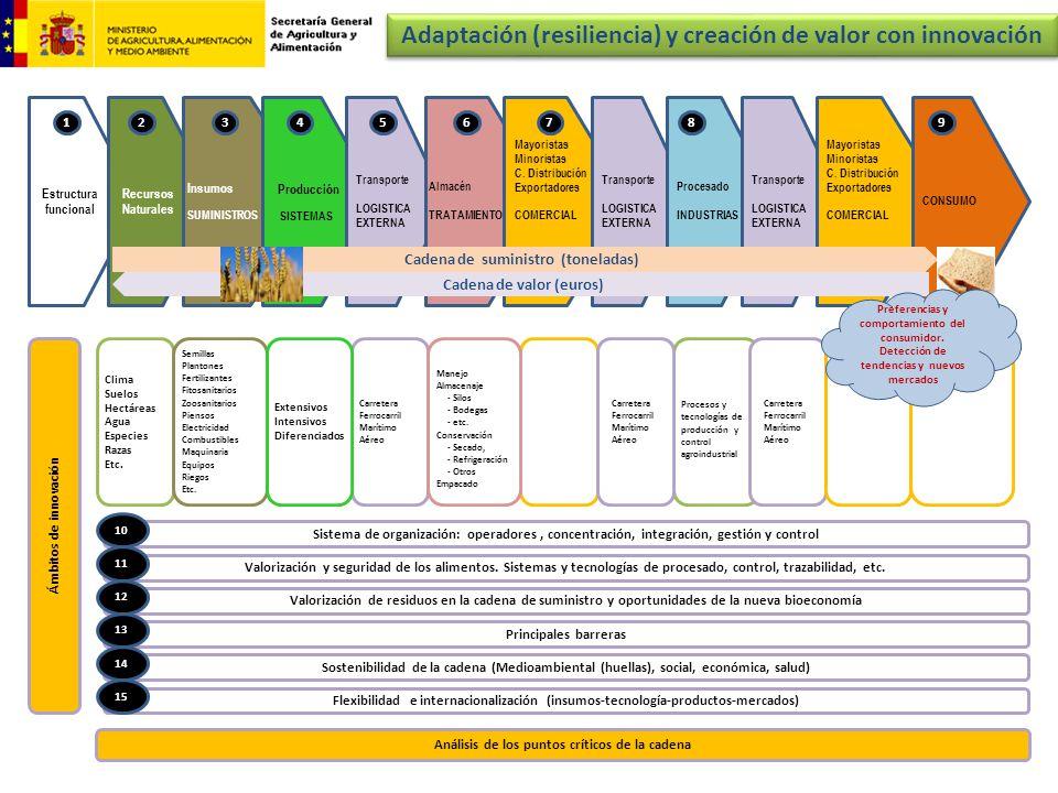 Estructura funcional Recursos Naturales Insumos SUMINISTROS Producción SISTEMAS Transporte LOGISTICA EXTERNA Almacén TRATAMIENTO Mayoristas Minoristas