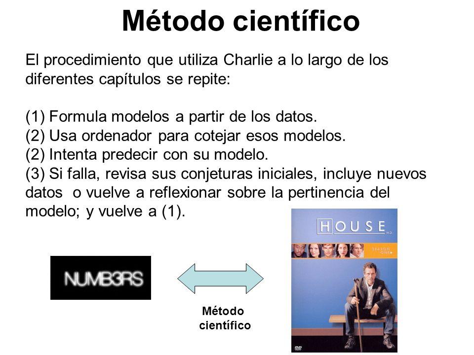 El procedimiento que utiliza Charlie a lo largo de los diferentes capítulos se repite: (1) Formula modelos a partir de los datos. (2) Usa ordenador pa