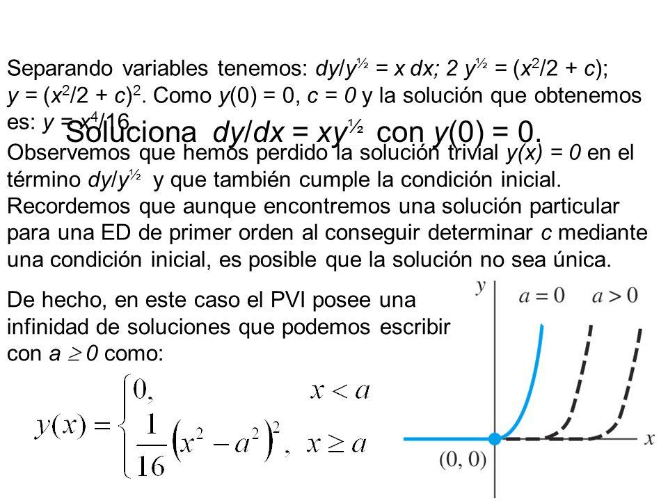 11 Soluciona dy/dx = xy ½ con y(0) = 0.
