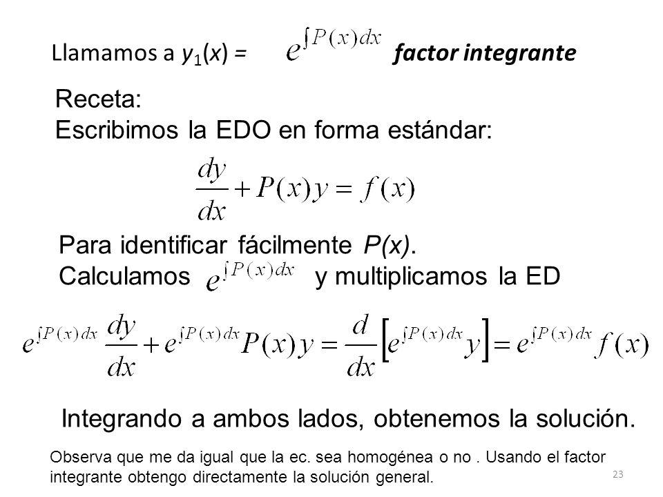 23 Llamamos a y 1 (x) = factor integrante Receta: Escribimos la EDO en forma estándar: Para identificar fácilmente P(x).