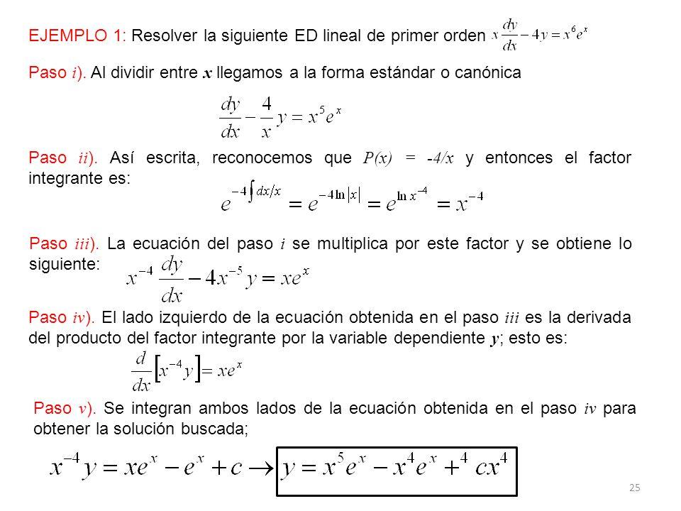 25 EJEMPLO 1: Resolver la siguiente ED lineal de primer orden Paso i ).