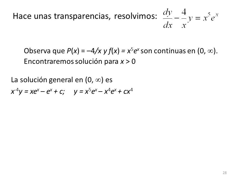 28 Observa que P(x) = –4/x y f(x) = x 5 e x son continuas en (0, ).