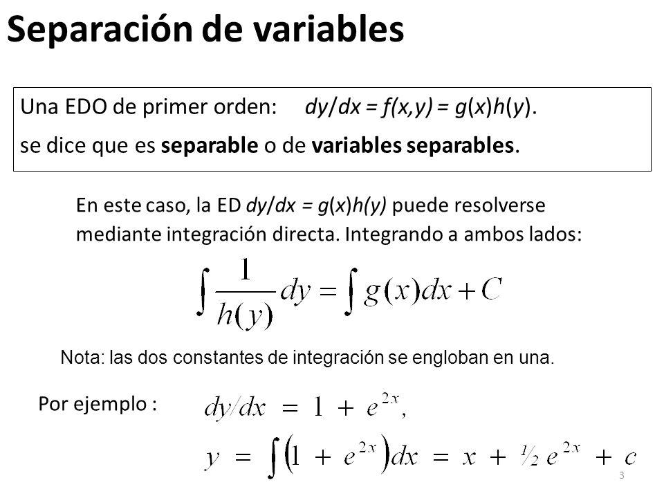 4 Solución por separación de variables: Resolver También podemos dejar la solución en forma implícita como: x 2 + y 2 = c 2, donde c 2 = 2c 1 Aplicando la condición inicial, 16 + 9 = 25 = c 2 ; x 2 + y 2 = 25.