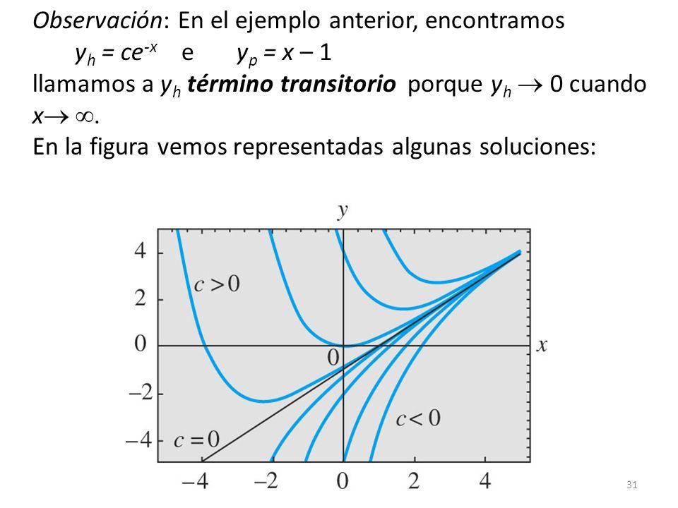 31 Observación: En el ejemplo anterior, encontramos y h = ce -x e y p = x – 1 llamamos a y h término transitorio porque y h 0 cuando x.