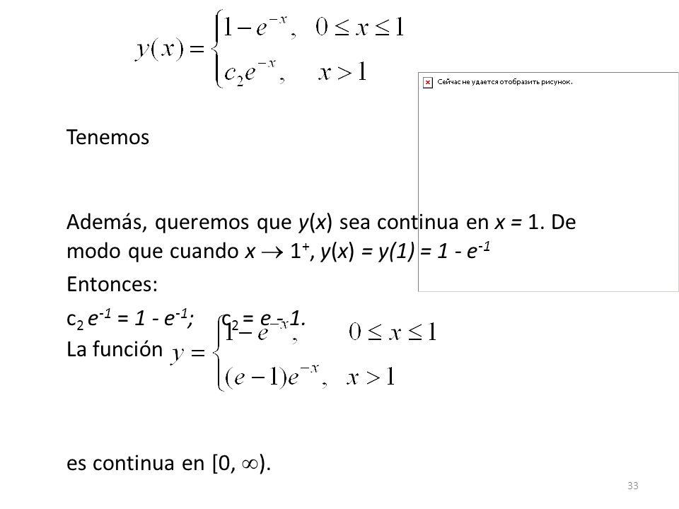 33 Tenemos Además, queremos que y(x) sea continua en x = 1.