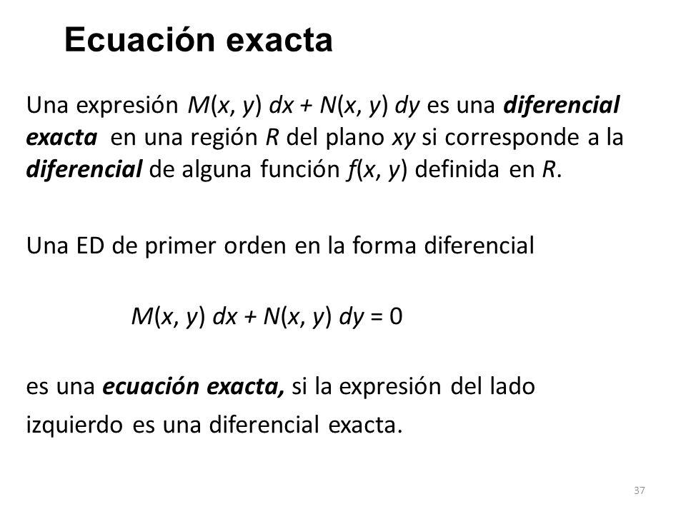 37 Ecuación exacta Una expresión M(x, y) dx + N(x, y) dy es una diferencial exacta en una región R del plano xy si corresponde a la diferencial de alguna función f(x, y) definida en R.