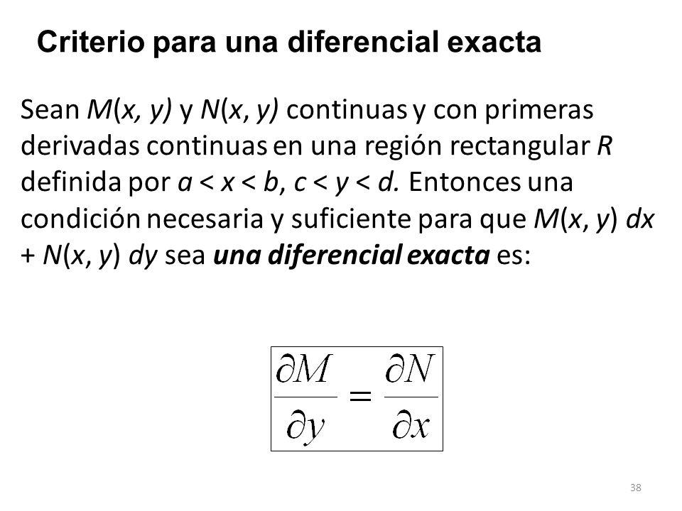 38 Criterio para una diferencial exacta Sean M(x, y) y N(x, y) continuas y con primeras derivadas continuas en una región rectangular R definida por a < x < b, c < y < d.