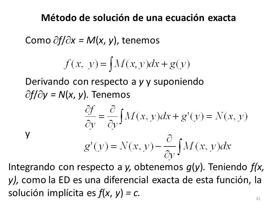 41 Como f/ x = M(x, y), tenemos Derivando con respecto a y y suponiendo f/ y = N(x, y).