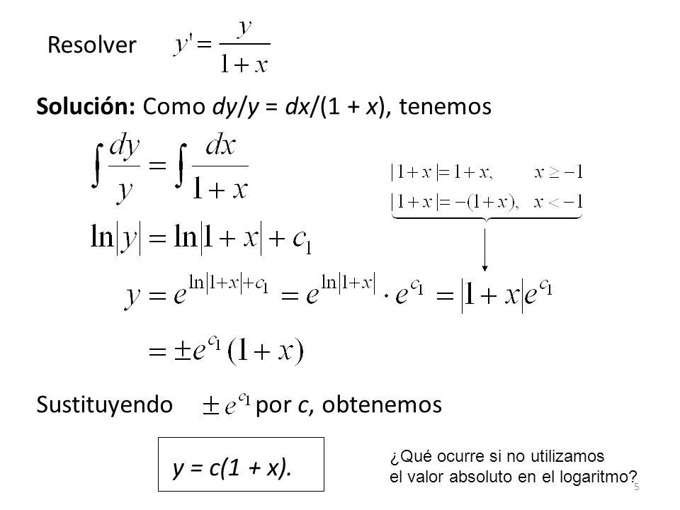 5 Solución: Como dy/y = dx/(1 + x), tenemos Sustituyendo por c, obtenemos y = c(1 + x).