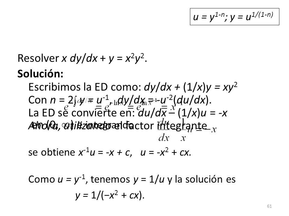 61 Resolver x dy/dx + y = x 2 y 2.