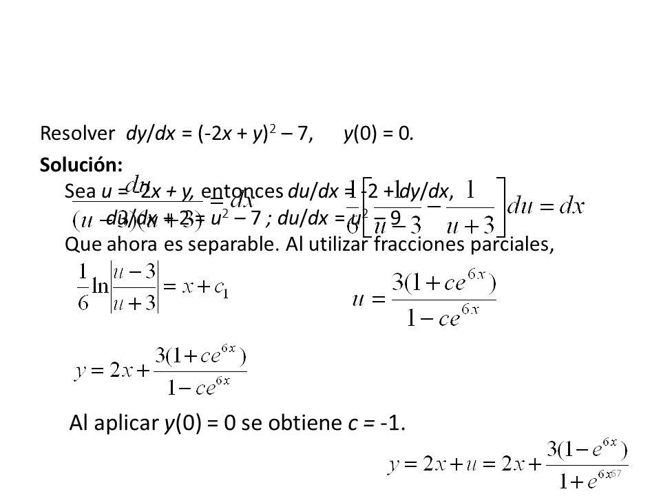67 Resolver dy/dx = (-2x + y) 2 – 7, y(0) = 0.